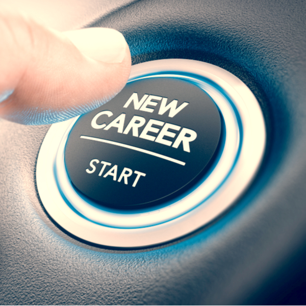 A thumb ready to push a button with a text new career start.
